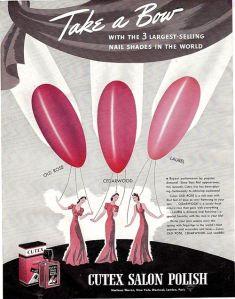 Dobová reklama značky Cutex na údajně 3 nejprodávanější odstíny.