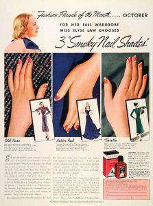 Reklama Cutex z roku 1937, na krabičce za lahvičkou je to jasně vidět – černě nalakované nehty.