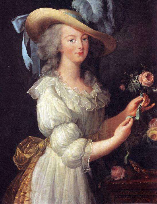 Marie Antoinetta v mušelínových šatech, portrét z roku 1783 od Louise Elisabeth Vigee Le Brun