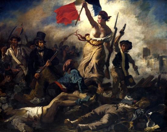 Obraz Svoboda vede lid na barikády, který namaloval Eugene Delacroix.