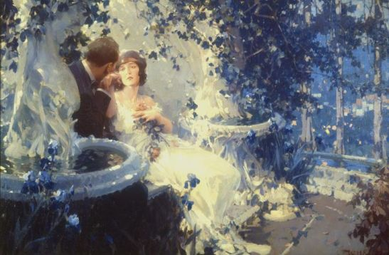 Obraz Lovers in the Garden, který namaloval Walter Everett.